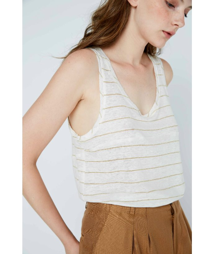 camiseta_sin_mangas_lino_blanco_rayas_oro_Ropa_Chica