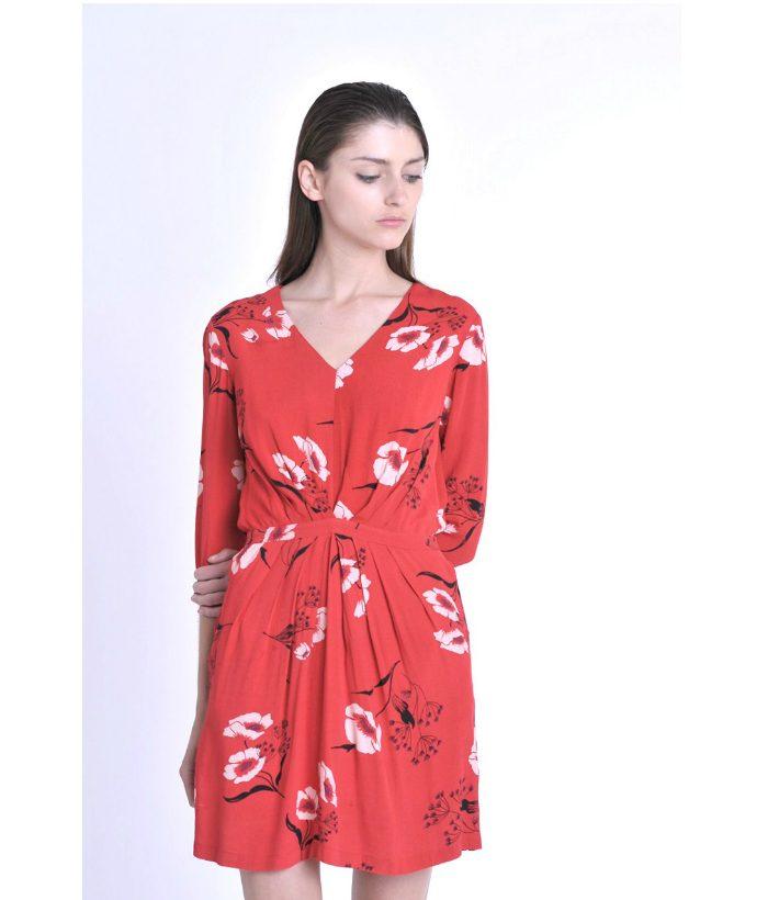 vestido-rojo-con-estamapado-floral