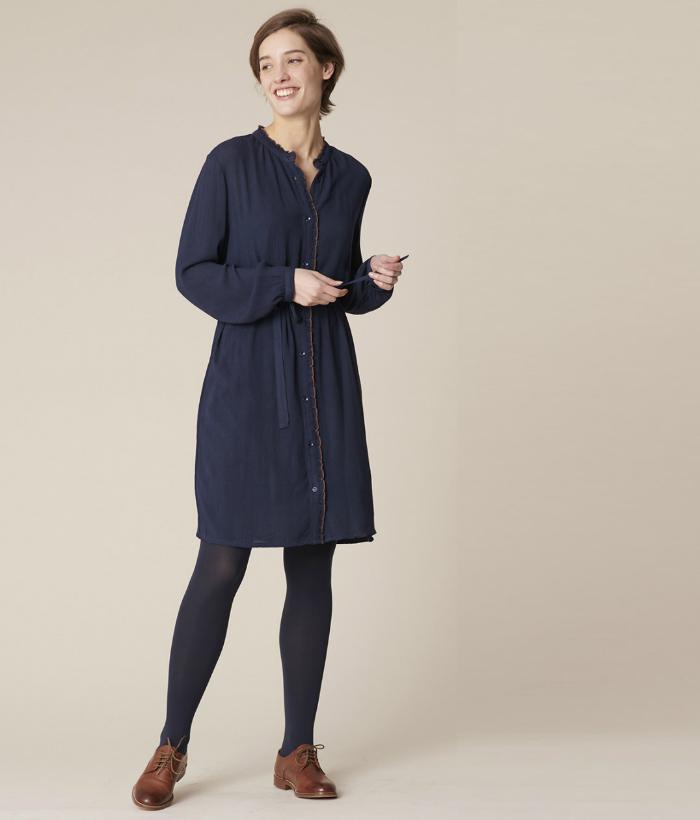 vestido azul camisero de Harris Wilson