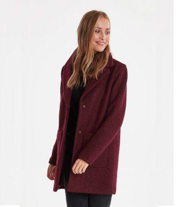 abrigo de lana burdeos