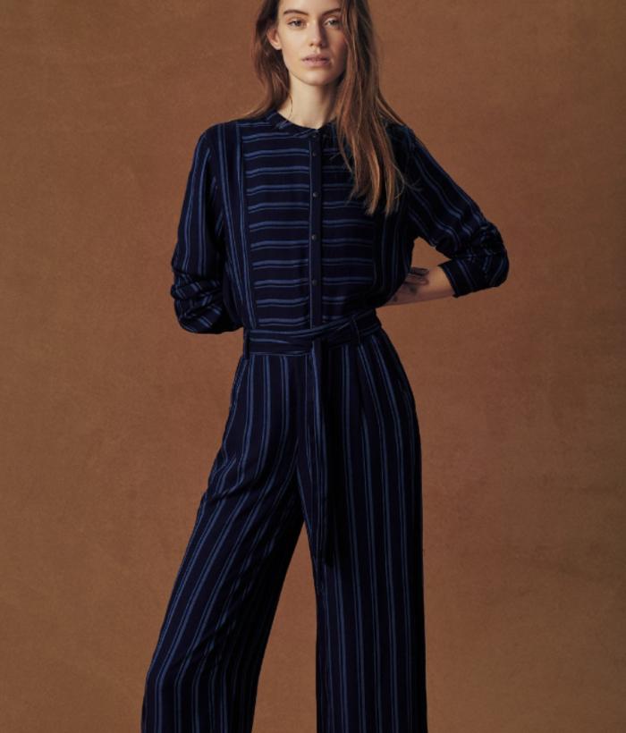 Pantalón azul rayas de pata ancha
