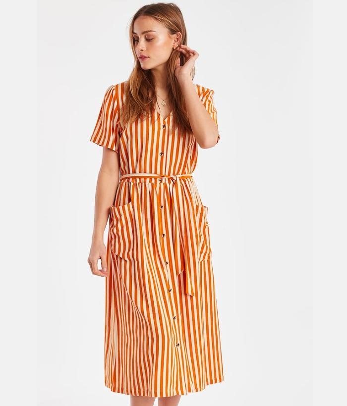 vestido rayas naranja ichi