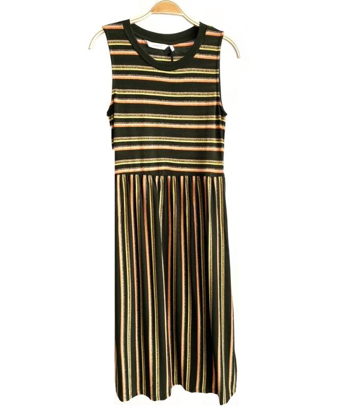 Vestido verde de rayas brillantes (3)