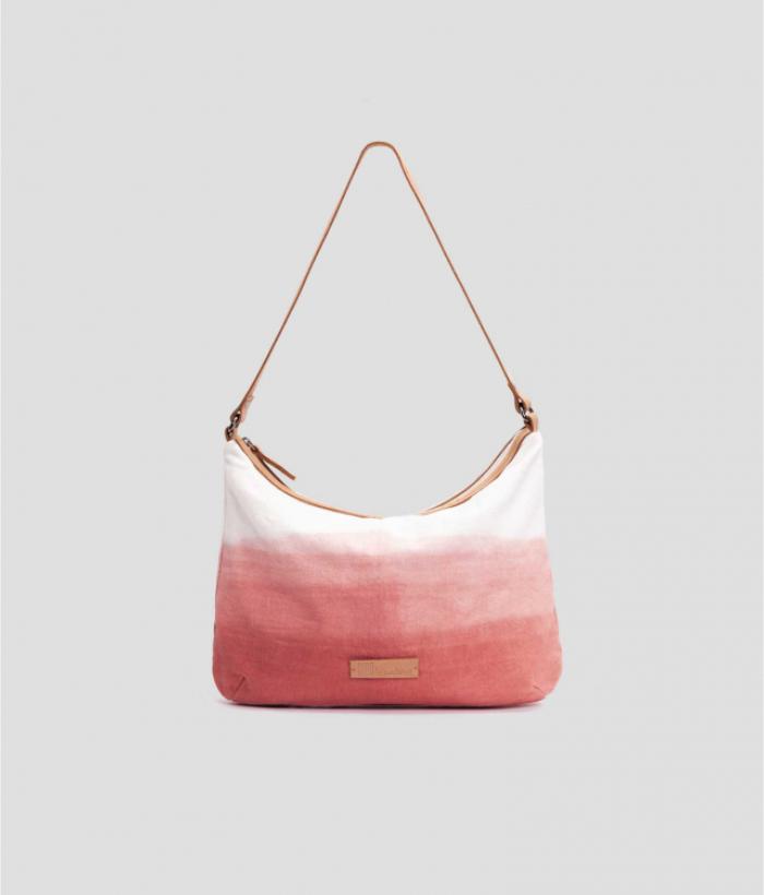 bolso rosa degradado de algodón y asas de piel