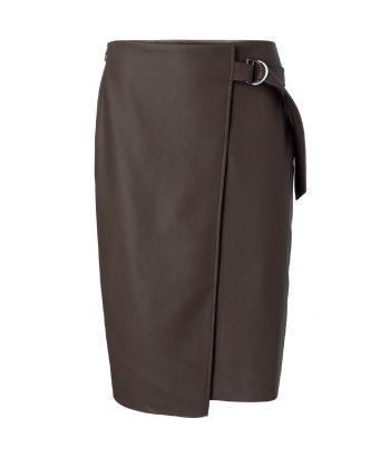 falda midi polipiel color marrón oscuro