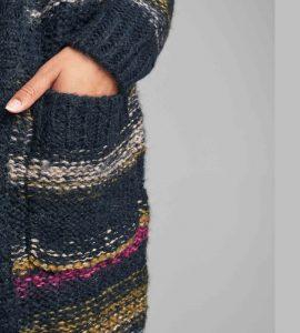 chaqueta azul de lana con mohair de rayas