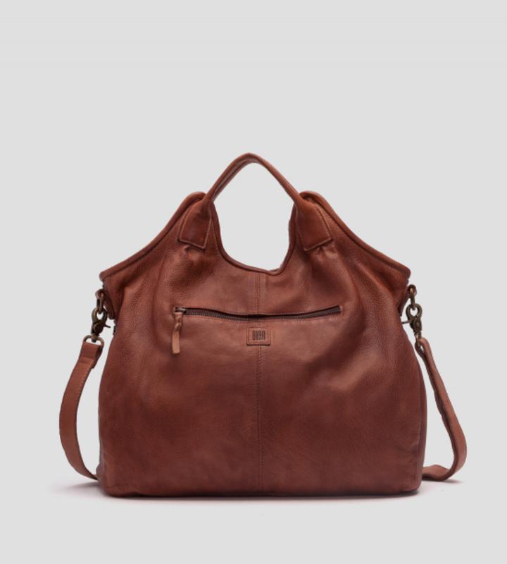 bolso trenzado con doble asa de piel marrón