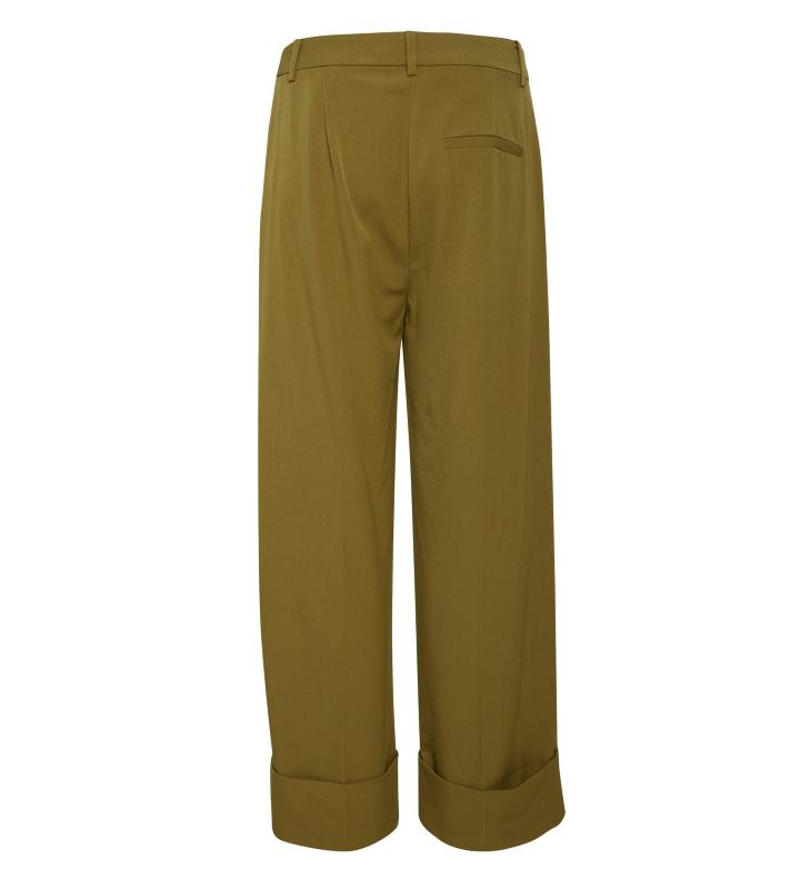 pantalon verde pierna ancha y dobladillo