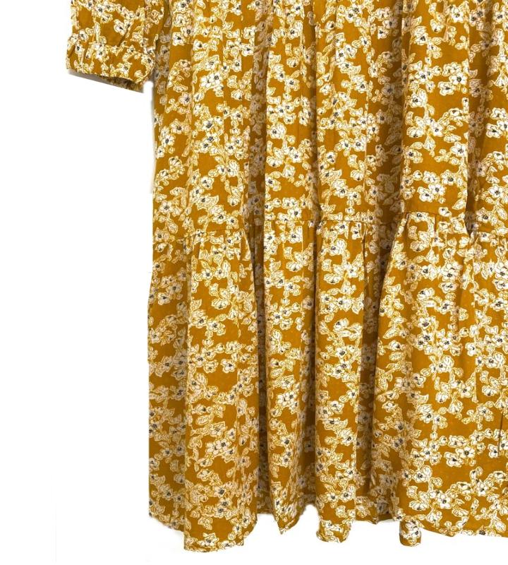 vestido flores color camel