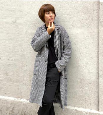 abrigo de lana largo con cuadros vichy