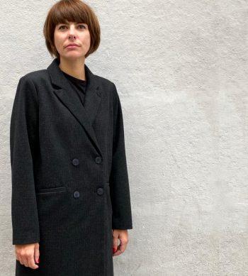 abrigo de lana de cuadros