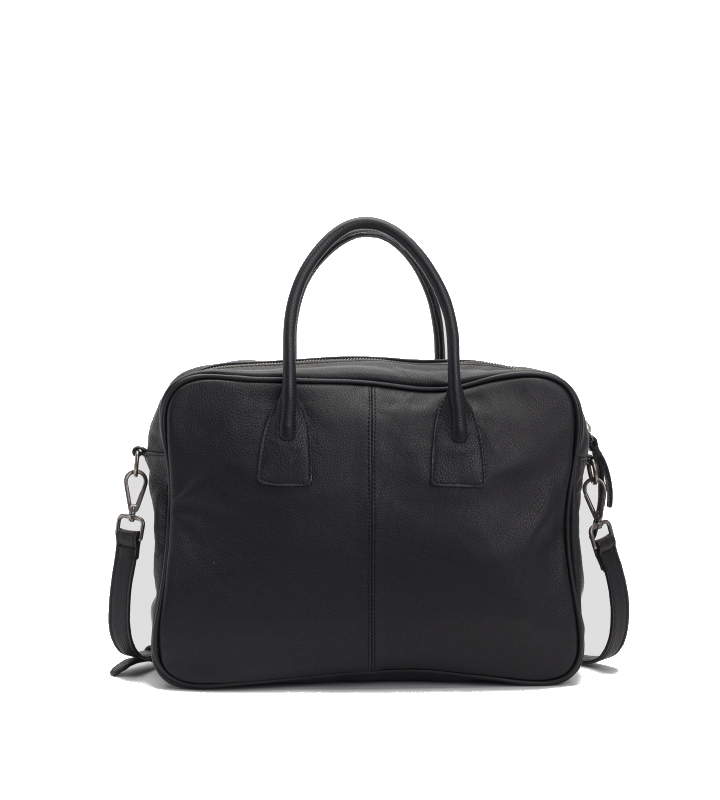 Bolso maletín de cuero color negro (3)