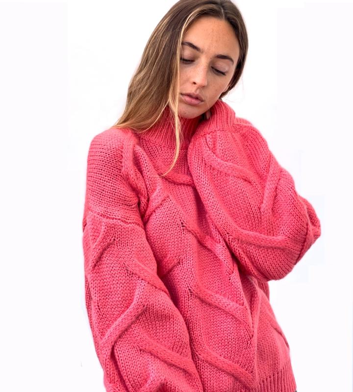 jersey rosa de mangas anchas