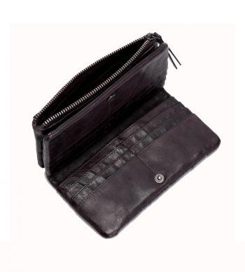 cartera de piel trenzada color negro de BIBA
