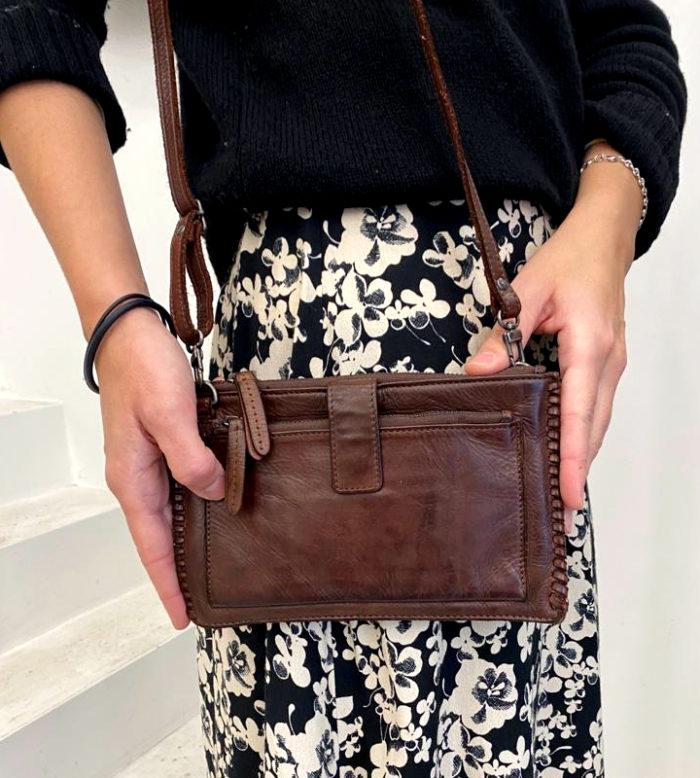cartera bolso piel color cuero
