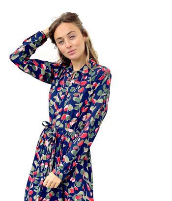 vestido midi de estampado de hojas de Harris Wilson