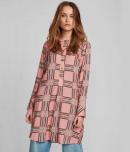 vestido camisero de cuadros rosas y azules