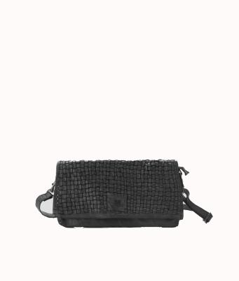 Bolso bandolera color negro trenzado de BIBA