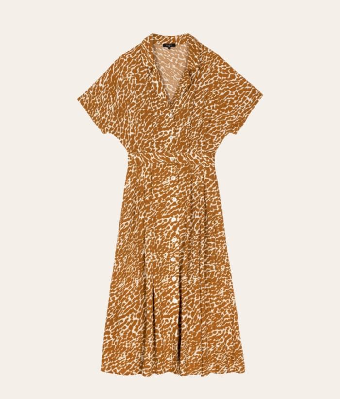 Vestido largo estampado print color camel de FRNCH