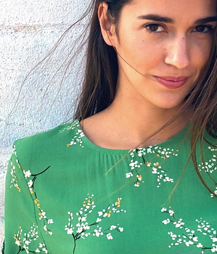 Blusa verde estampado japonés