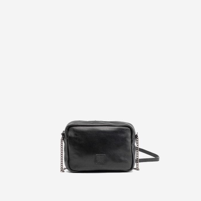 bolso bandolera de piel color negro