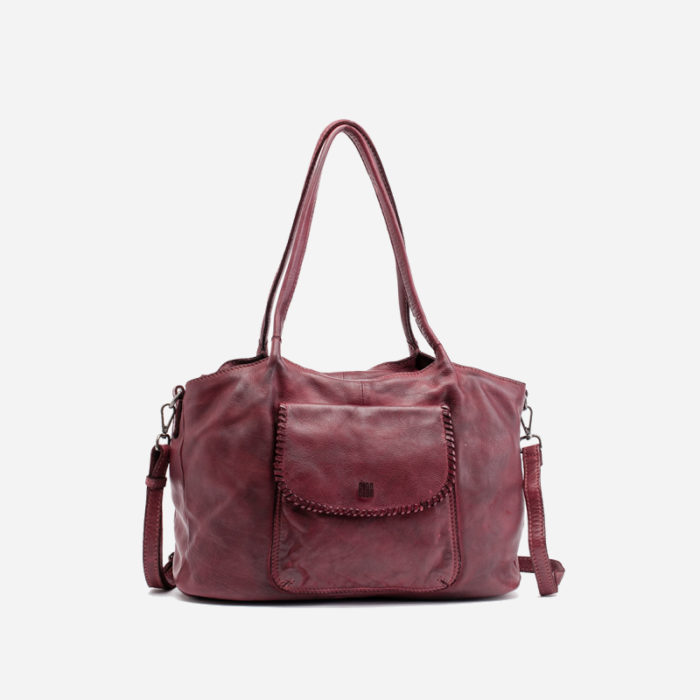 Bolso shopper de piel color burdeos