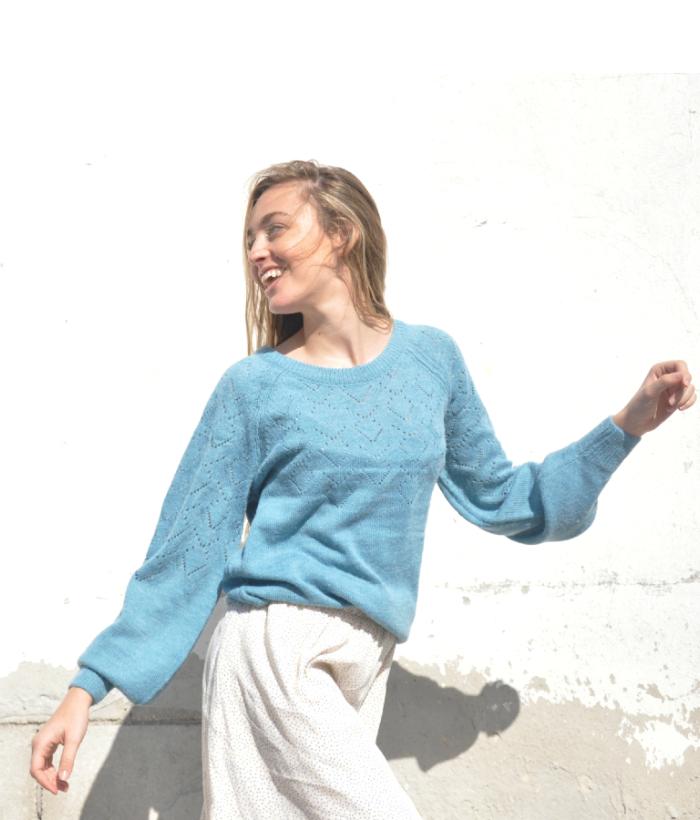jersey azul claro de punto de ICHI