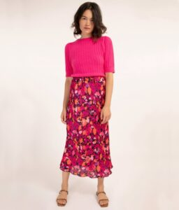falda fucsia de flores estampadas de FRNCH