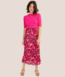 Falda de flores rosa de Frnch