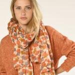 Foulard de mujer de estampado de flores en color naranja
