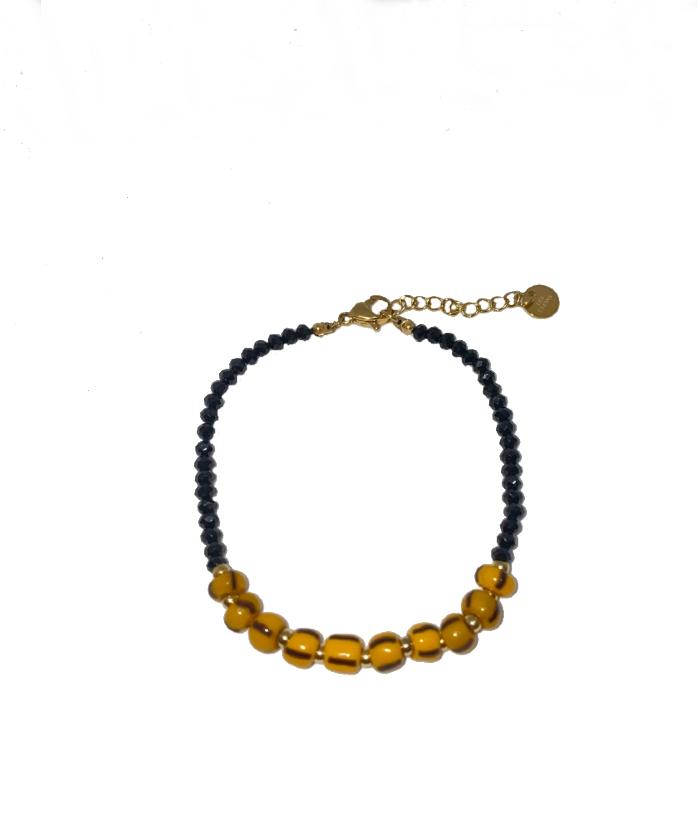 Pulsera piedras negras amarillas
