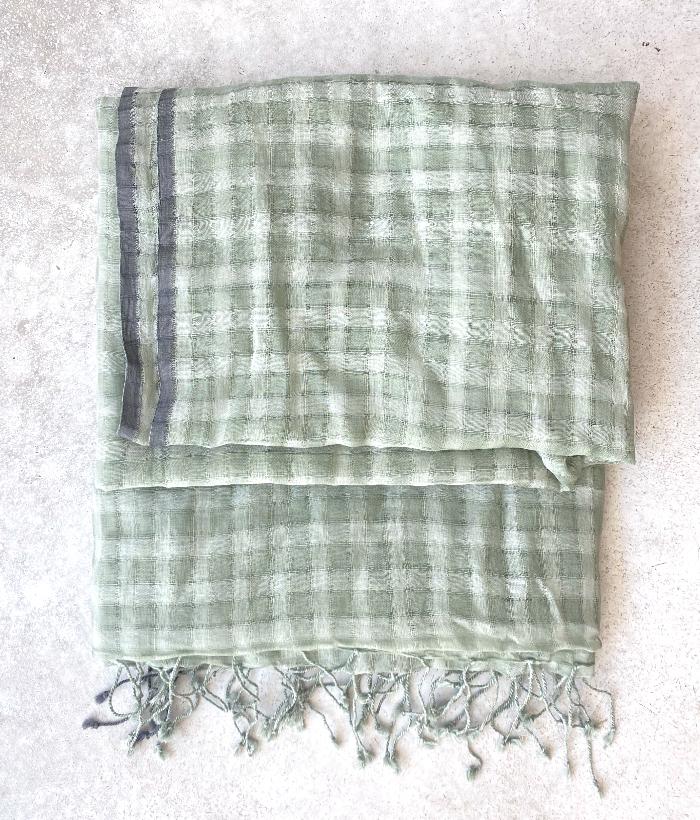 Foulard verde de algodón con cuadros