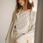 blazer de lino color beige