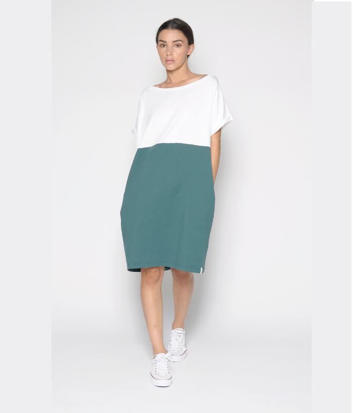 vestido algodón blanco verde