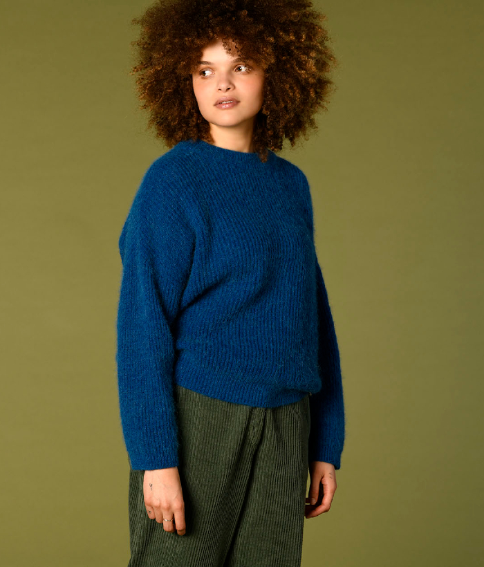 jersey azul de punto de Harris Wilson