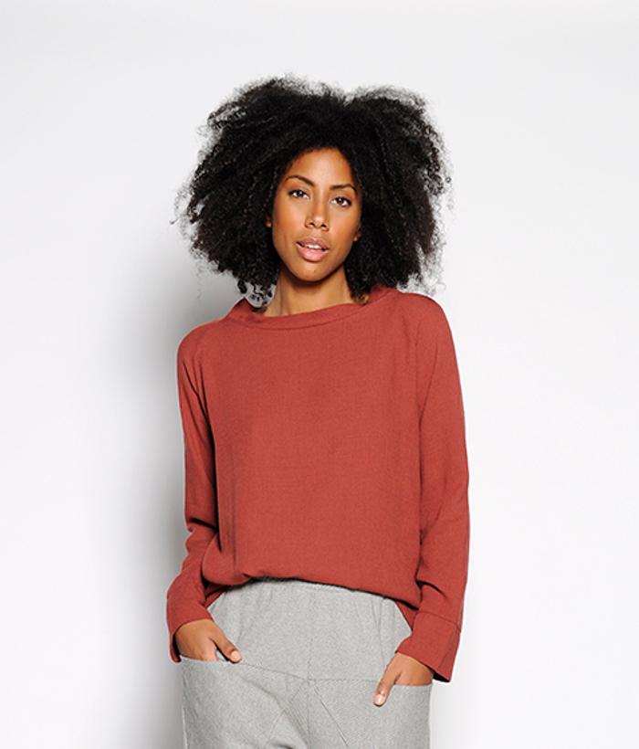 Blusa manga larga color teja