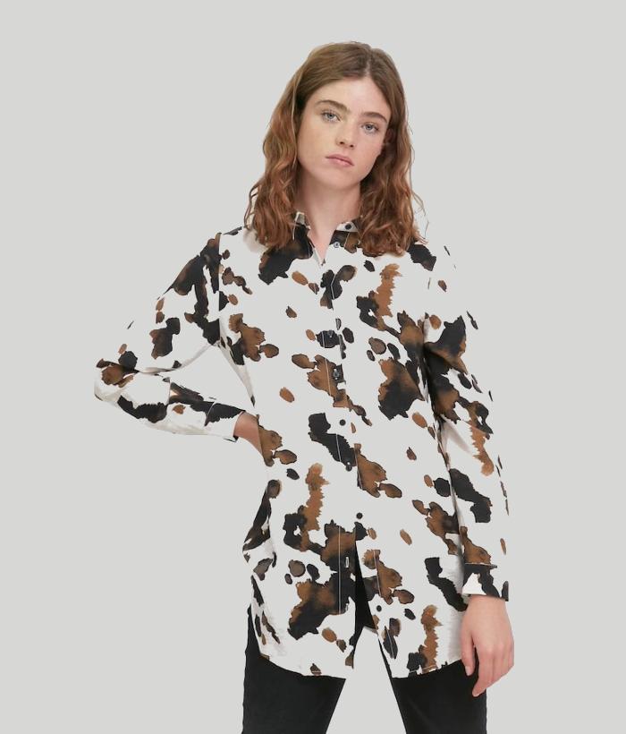 blusón largo de estampado blanco ICHI