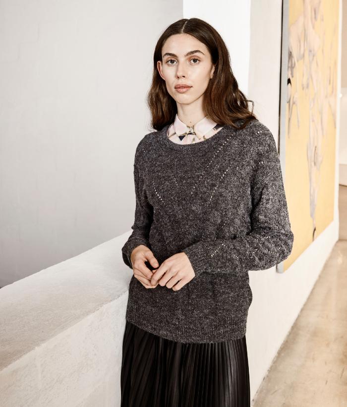 jersey de punto de mujer color gris