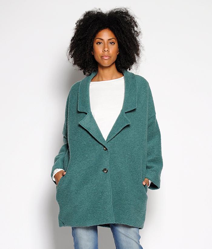 chaquetón verde de mujer